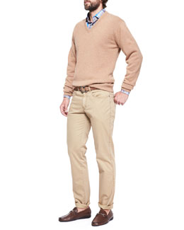 Peter Millar Hops Loro Piana Cotton V-Neck Sweater, Multi-Plaid Poplin Shirt & Hops Loro Piana Cotton V-Neck Sweater