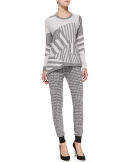 Thakoon Addition Asymmetric-Stripe Pullover Sweater & Knit Check-Print Slim-Leg Pants