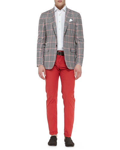 Kiton Check Jacket with Contrast Pane, Linen-Blend Woven Solid Dress Shirt & Twill Straight-Leg Trousers