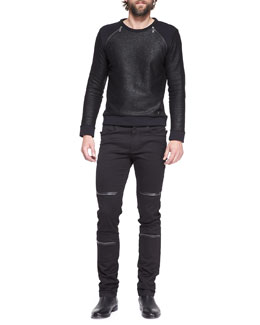 Versace Collection Zipper-Detail Metallic Polo & Zipper-Detail Stretch-Twill Pants
