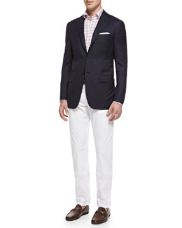 Kiton Three-Button Wool Blazer, Check Button-Down Shirt & Twill Straight-Leg Trousers