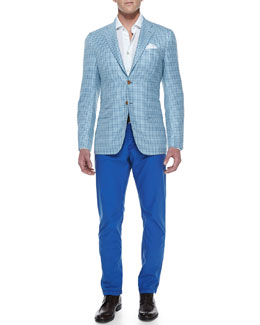 Kiton Check Two-Button Jacket, Linen-Blend Dress Shirt & Poplin Casual Trousers