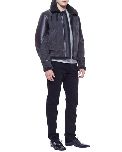 Burberry London Shearling Bomber Jacket & Straight-Leg Denim Jeans