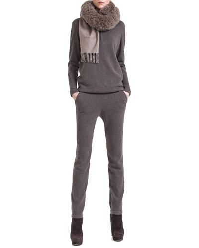 Akris Cashmere Half-Zip Sweater, Cashmere Jogging Pants & Alpaca-Fur-Collar Wrap