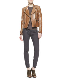 Belstaff Leather Zip Moto Jacket, Contoured Ribbed Crew Sweater & Skinny Twill Moto Jeans