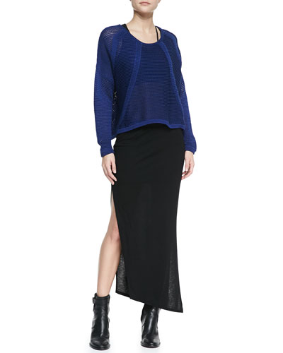 Helmut Lang Fine Cord See-Through Pullover, Split-Strap Sports Bra & Scala Asymmetric Slub-Jersey Skirt