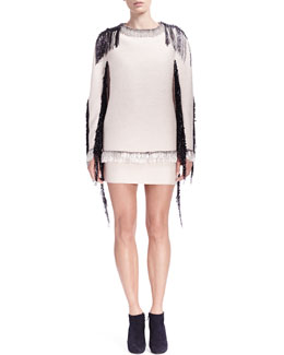 Lanvin Fringe/Bead-Trim Long-Sleeve Sweatshirt & Slim Skirt