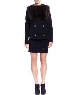 Lanvin Mink Fur Cropped Vest, Double-Wool Industrial Snap Jacket & Wool Industrial Side-Snap Skirt