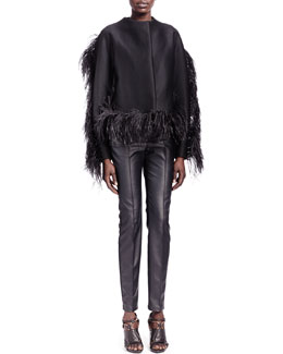 Lanvin Ostrich-Trim Jewel-Neck Jacket & Faux Leather Jeans