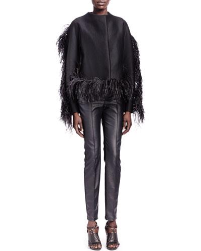 Lanvin Ostrich-Trim Jewel-Neck Jacket & Faux Leather Jeans