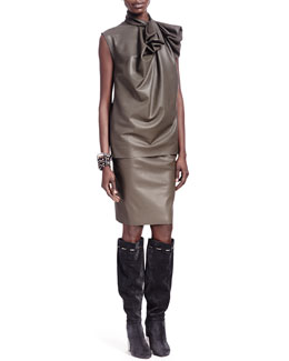 Lanvin Faux Leather Bow-Neck Top & Faux Leather Metal-Detail Skirt