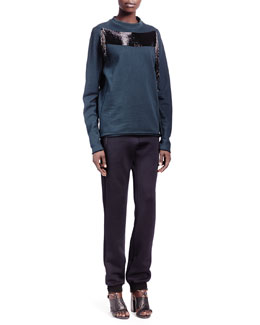 Lanvin Asymmetric Bead-Detail Jersey Sweatshirt & Jersey Zip-Pocket Jogging Pants