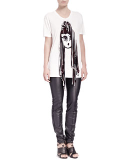 Lanvin 3-D Girl Short-Sleeve Tee & Faux-Leather Jeans