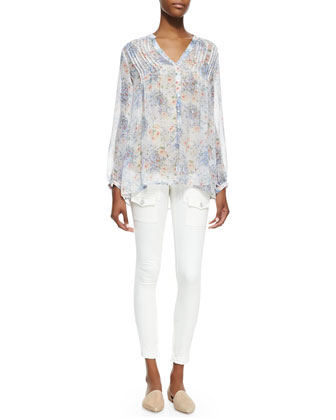 Martine C Floral-Print Long-Sleeve Blouse & So Real Cargo-Pocket Skinny Jeans