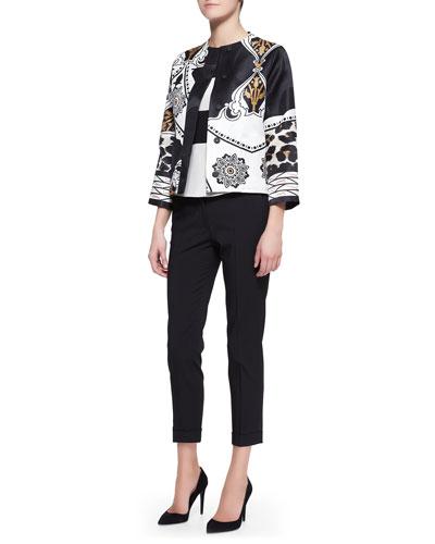 Etro Exploded Paisley/Leopard-Print Jacket, Cap-Sleeve Wide-Stripe Peplum Top & Serged Front Zip-Cuff Capri Pants