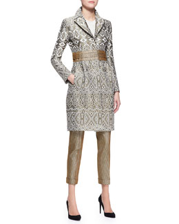 Etro Three-Snap Jacquard Princess Topper, Long-Sleeve Beaded Bib-Front Blouse & Stretch Herringbone-Print Cuffed Pants