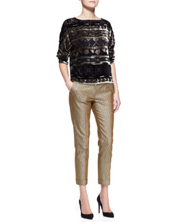 Etro Long-Sleeve Geo-Print Boxy Top & Stretch Metallic Herringbone Cuffed Pants