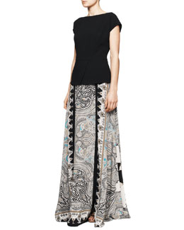 Etro Cap-Sleeve Peplum Top & Printed Double-Vent Maxi Skirt