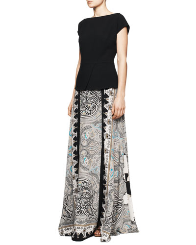 Etro Cap-Sleeve Peplum Top & Printed Double-Vent Maxi Skirt