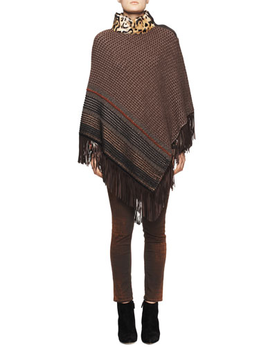 Etro Leopard-Collar Poncho with Fringe Hem, Long-Sleeve Victorian Garden-Print Blouse & Reptile-Print Skinny Jeans