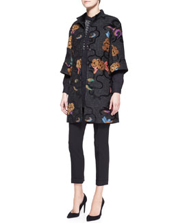 Etro 3/4-Sleeve Scroll Floral Snap-Down Coat/Long-Sleeve Beaded-Placket Tunic Blouse & Serged Front Zip-Cuff Capri Pants