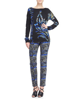 Etro Stenciled Paisley Bateau Sweater and Slim Pants
