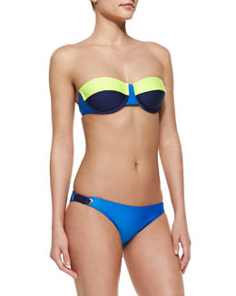 Splendid Bayside Solids Underwire Bandeau Top & Retro Swim Bottom