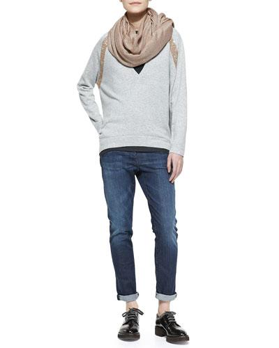 Paillette Scarf, Long-Sleeve Deep-V Sweater with Sequin Shoulder & Classic 5-Pocket Denim Jeans