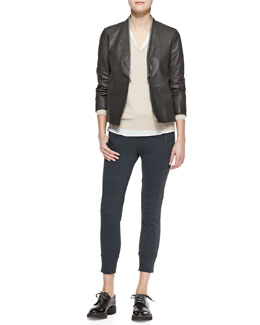 Brunello Cucinelli Metallic-Edged Leather Jacket, Wide V-Neck Banded-Bottom Boyfriend Cashmere Sweater, Silk Crepe A-Line Blouse & Moto Knee-Pad Cotton Spa Pants