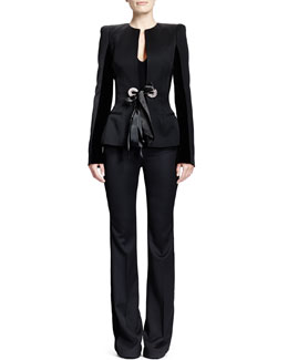Alexander McQueen Wool Velvet-Insert Ribbon-Detail Jacket, Sweetheart-Neck Tank Bodysuit & Wool Ribbon-Detail High-Waist Pants