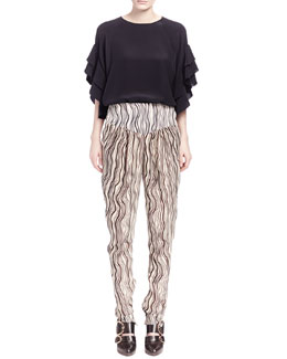 Chloe Ruffle-Sleeve Crepe Blouse and Printed Waves Georgette Pants