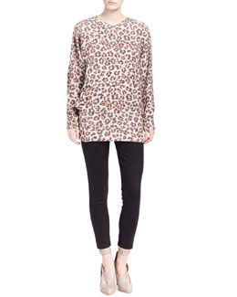 Chloe Long-Sleeve Animal-Print Blouse & Punto Milano Ski Pants
