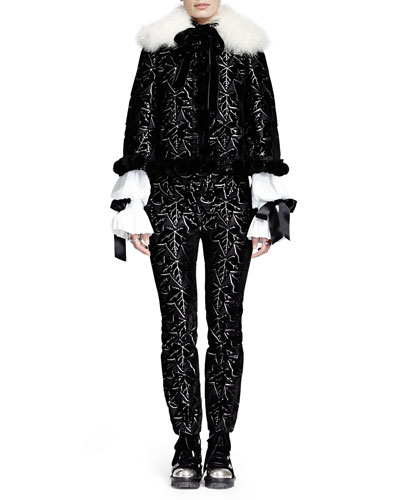 Alexander McQueen Mink Pom Pom Velvet Jacquard Cape & Puffed Sleeve Blouse w/ Ribbon Cuffs & Ivy-Print Jacquard Velvet Cropped Pants