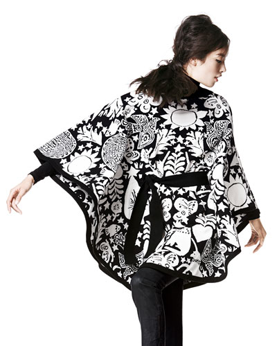 Alexander McQueen Fairy Tale-Print Poncho with Tunnel Belt & Long Sleeve Lace Stripe Patchwork Turtleneck