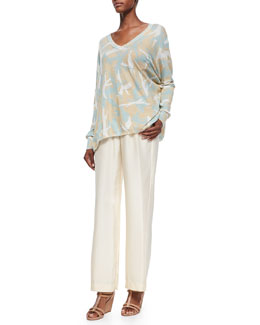 Minnie Rose Long-Sleeve Printed Camo Pullover & Washable Silk Habotai Palazzo Pants