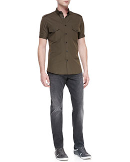 Alexander McQueen Short-Sleeve Military Shirt & Stone-Wash Stretch-Denim Jeans