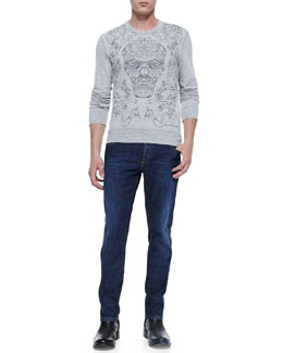Alexander McQueen Embroidered-Skull Knit Sweatshirt & Stone-Wash Stretch-Denim Jeans