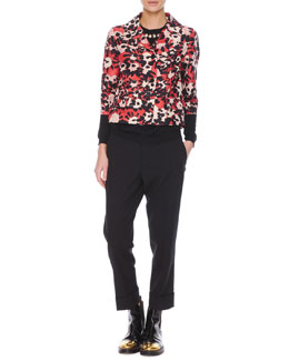 Marni Poppy Floral-Print 3/4-Sleeve Jacket, Jewel-Trim Cashmere Sweater & Flat-Front Cropped Wool Pants