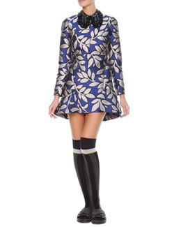 Marni Long-Sleeve Macro-Flower Jacquard Tunic Dress & Studded Beaded Hook Collar