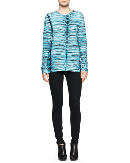 Proenza Schouler Jersey Tie-Dye Tissue Top and Ultra-Skinny Ankle Jeans