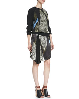 Reed Krakoff Reed Audubon Printed Sweatshirt and Asymmetric Skirt
