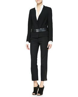 Donna Karan Long-Sleeve Boyfriend Jacket, Long-Sleeve Blouse, Zip Ankle Trousers & Slice Leather Belt