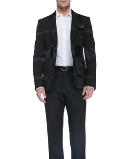 Alexander McQueen Long-Sleeve Harness Shirt & Patchwork Two-Button Jacket