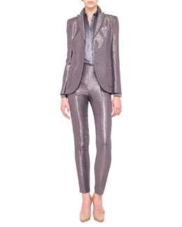 Akris Shimmery Three-Button Jacket and Slim Pants & Silk Satin Shirt Blouse