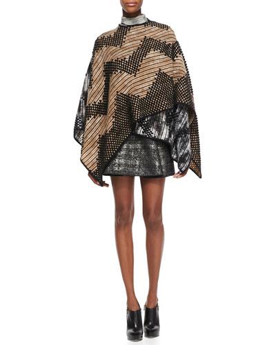 Missoni Zigzag Patterned Mantle Cape, Space Dye Striped Turtleneck Top & Pleated Metallic Miniskirt