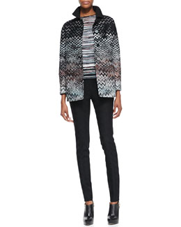Missoni S-Type Jacket with Zigzag Reverse, Short-Sleeve Pleated Back Sweater & Skinny Jacquard Pants