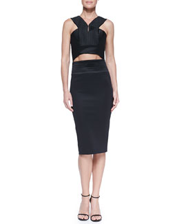 Robert Rodriguez Quorra Ribbed Futuristic Top & Pencil Skirt