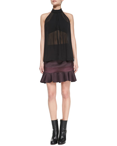 Robert Rodriguez Illusion Mirror Silk Sleeveless Blouse & Quorra Embroidered-Stripes Ponte Skirt