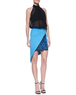 Robert Rodriguez Illusion Mirror Silk Sleeveless Blouse & Geo-Lace Inset Ponte Skirt