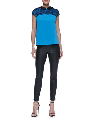Robert Rodriguez Lace-Top Leather-Collar Blouse & Stretch Leather Leggings